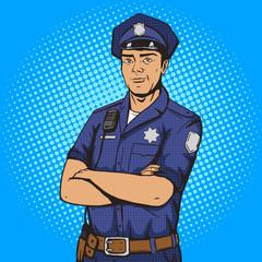 Policeman pop art style vector illustration