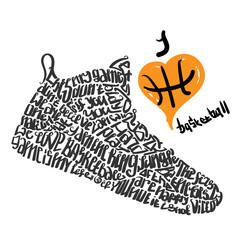 Basketball shoes lettering I love basketball