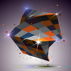 Dimensional twisted shiny cube with lights effect. 3d colorful