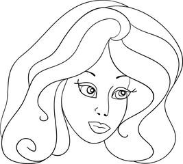 girl vector illustration black and white