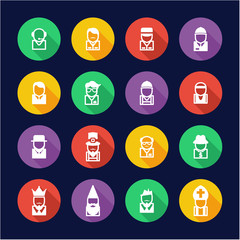 Avatar Icons Set 4 Flat Design Circle