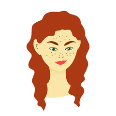 girl with freckles and long red hair