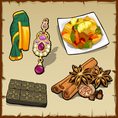 Set of exotic items, food, and spices