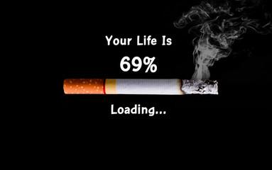 Cigarette loading to death, health concept