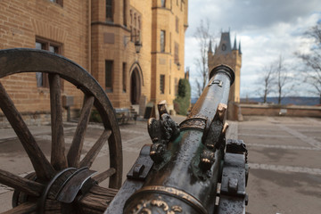 Cannon inside the Hohenzollern castle, Germany