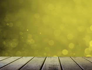 abstract light bokeh background with wood floor