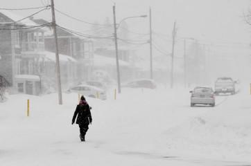 Women walking in the snow storm