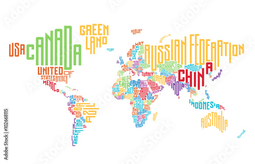 World map made of typographic country names\