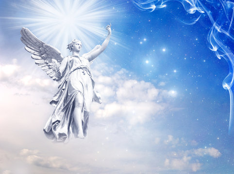 a white angel archangel Gabriel with rays of light