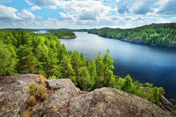 Keuken foto achterwand Cappuccino Landscape of Saimaa lake from above, Finland
