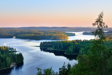 Garden Poster Lake Landscape of Saimaa lake from above, Finland