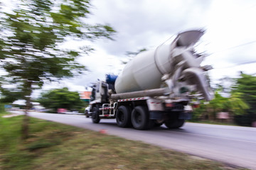 truck concrete mixer, panning camera
