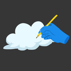 Blue hand draw cloud