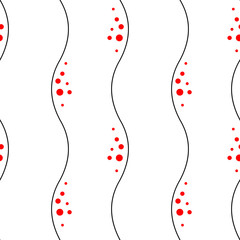 Seamless vector abstract pattern with lines and red dots on the white background.
