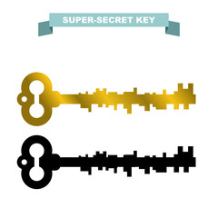 Super secret key. Old vintage retro key lock. Key opens a secret