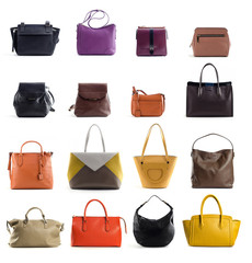 set of women colored leather handbags isolated on whte background