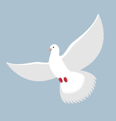 White Dove. Flying White pigeon. Bird with wings. White blue sym