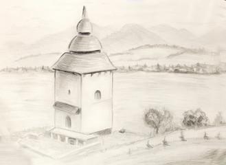 Sketch kaplnka  in nature. Architectural pencil sketch.