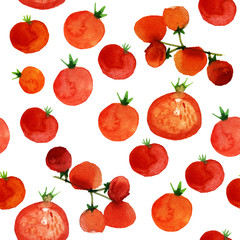 hand drawn tomatoes watercolor pattern