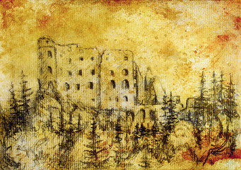 middle castle in forest drawing on old paper and vintage sepia structure.