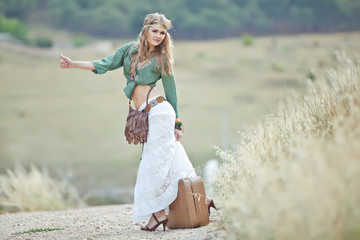 Beautiful woman walking, hippy