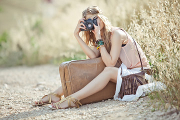 Beautiful woman walking, hippy