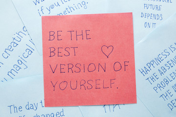 Sticky note with text be the best version of yourself