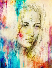 Drawing portrait Young woman with ornament on face, color painting on abstract background, computer collage.