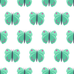 Mint green butterfly seamless pattern. Bright summer butterfly vector background.