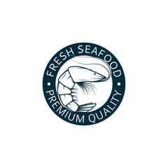 Seafood logo with shrimp. It is a vector stamp of seafood with shrimp for your design.