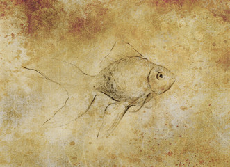 Goldfish sketch on paper background and soft ornament. vintage paper structure and sepia color.