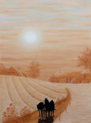 Pastellbild Bauernhof