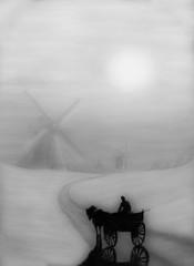 Pastellbild Bauer Windmuehlen sw