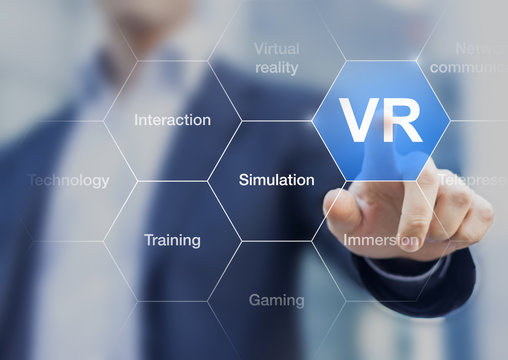 VR symbol, concept about virtual reality, button on digital scre