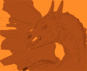 sketch dragon, computer draw and orange background.
