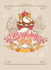 Invitation Card to Birthday Bash Party with Calligraphic Lettering Birthday Bash and Hand Drawn Sweet Cupcakes in Vintage Style. Vector Illustration.