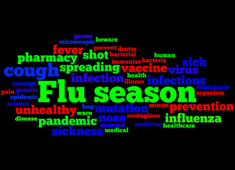 Flu season, word cloud concept 5