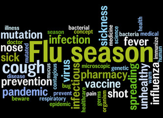 Flu season, word cloud concept 9