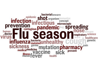 Flu season, word cloud concept