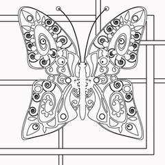 Coloring page book. Illustration black and white with butterfly