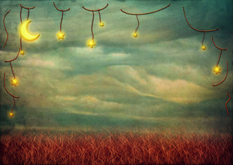 Stars and moon on the rope ,grunge background