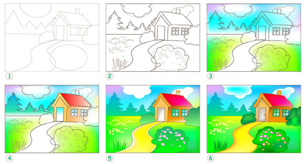 Page shows how to learn step by step to paint a landscape. Developing skills for drawing and coloring. Vector image.