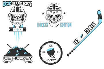 ice hockey logo. set of vector emblems.