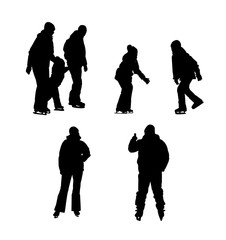 Set of silhouettes of people skating.