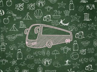 Vacation concept: Bus on School Board background