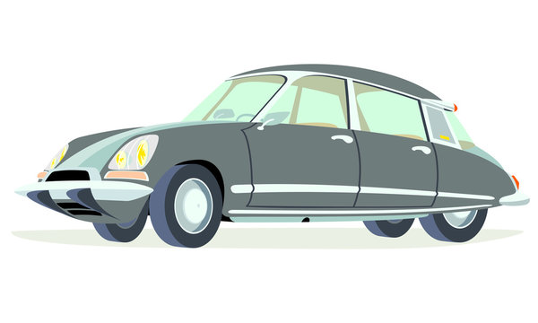 Caricatura Citroen DS-ID negro vista frontal y lateral