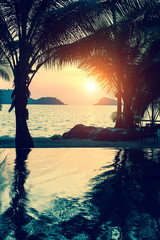 Tropical beach with palm trees during amazing sunset.