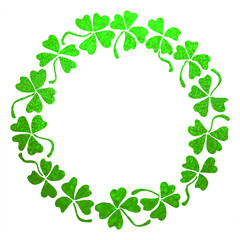 Doodle green clover shamrock circle wreath line art isolated