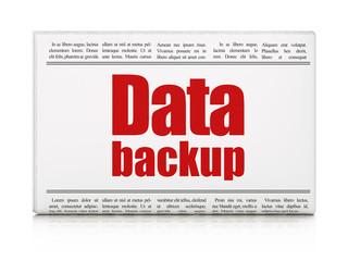 Information concept: newspaper headline Data Backup
