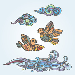 Hand-drawn illustration of two flying birds and clouds decorative